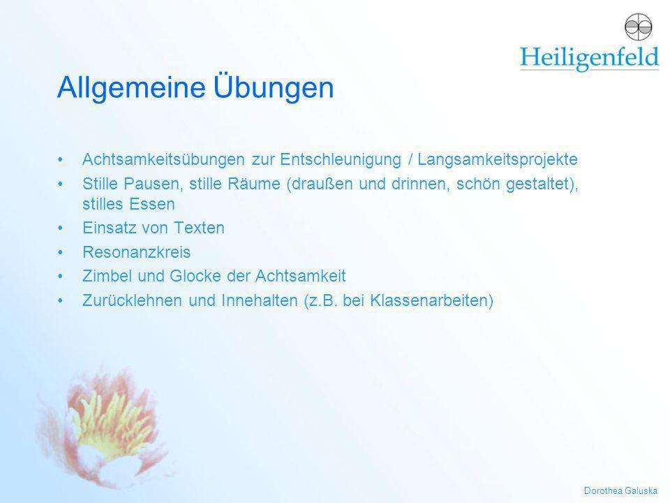 Allgemeine Übungen Achtsamkeitsübungen zur Entschleunigung / Langsamkeitsprojekte.