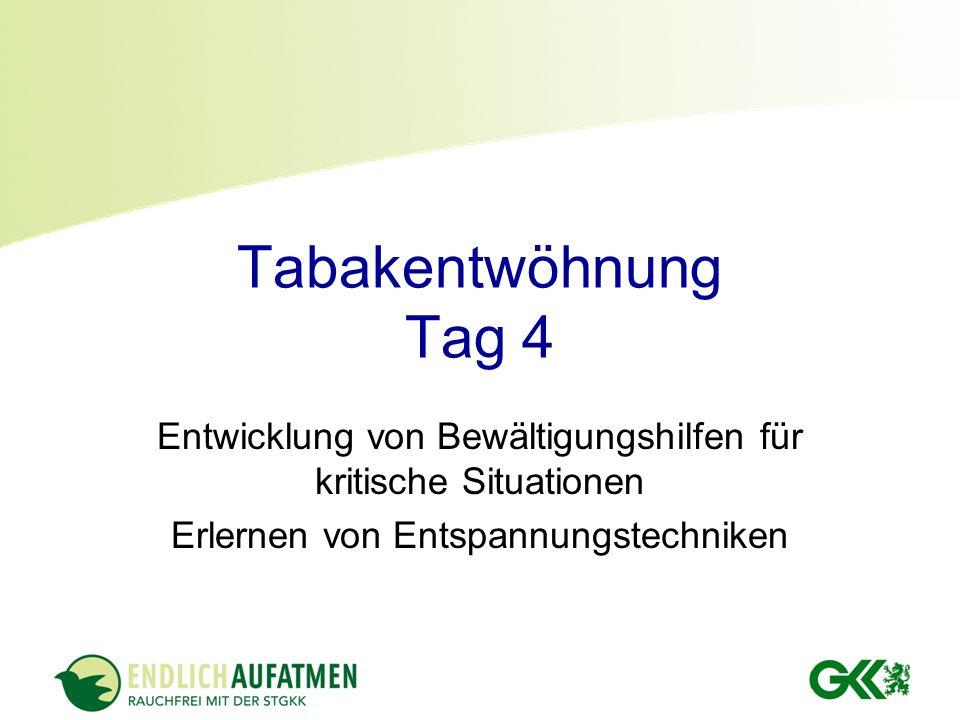 Tabakentwöhnung Tag 4 Entwicklung von Bewältigungshilfen für kritische Situationen.