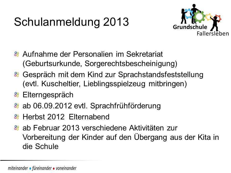 Schulanmeldung 2013 Aufnahme der Personalien im Sekretariat (Geburtsurkunde, Sorgerechtsbescheinigung)