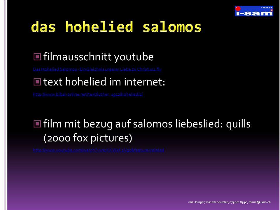 das hohelied salomos filmausschnitt youtube text hohelied im internet:
