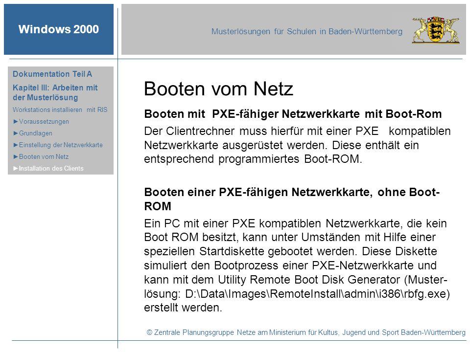 Booten vom Netz Booten mit PXE-fähiger Netzwerkkarte mit Boot-Rom