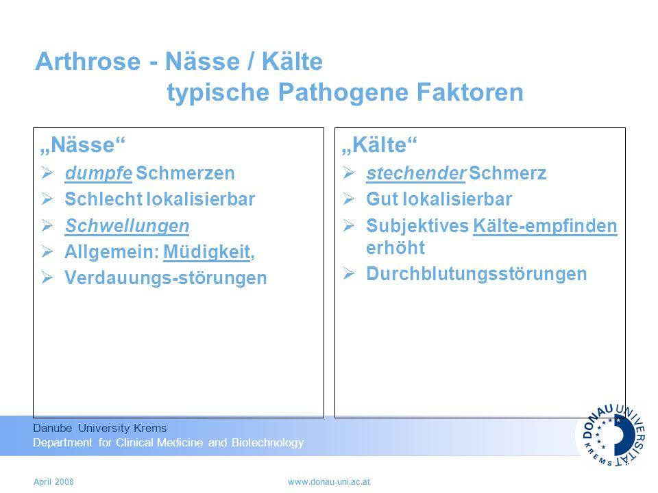 Arthrose - Nässe / Kälte typische Pathogene Faktoren