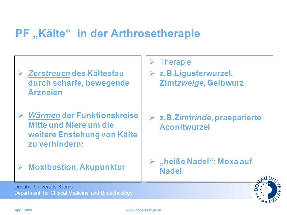 "PF ""Kälte in der Arthrosetherapie"
