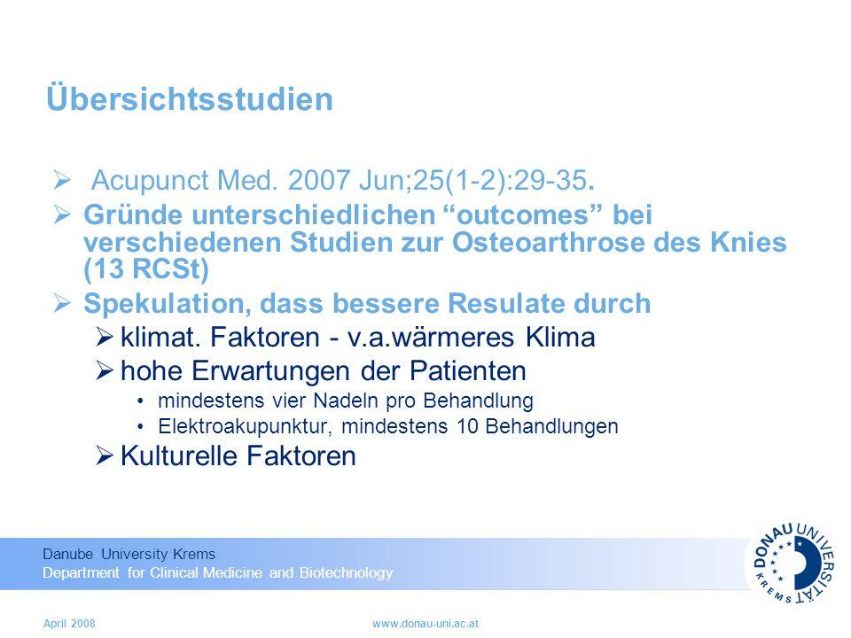 Übersichtsstudien Acupunct Med. 2007 Jun;25(1-2):29-35.