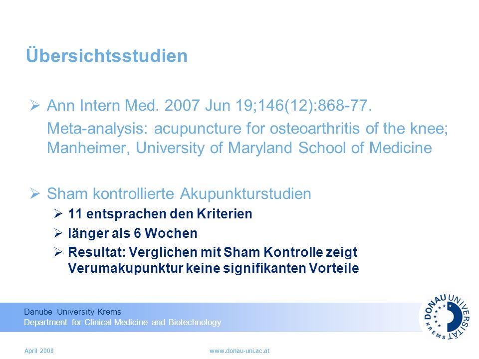 Übersichtsstudien Ann Intern Med. 2007 Jun 19;146(12):868-77.