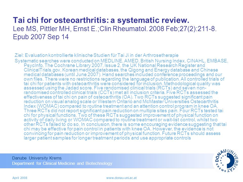 Tai chi for osteoarthritis: a systematic review