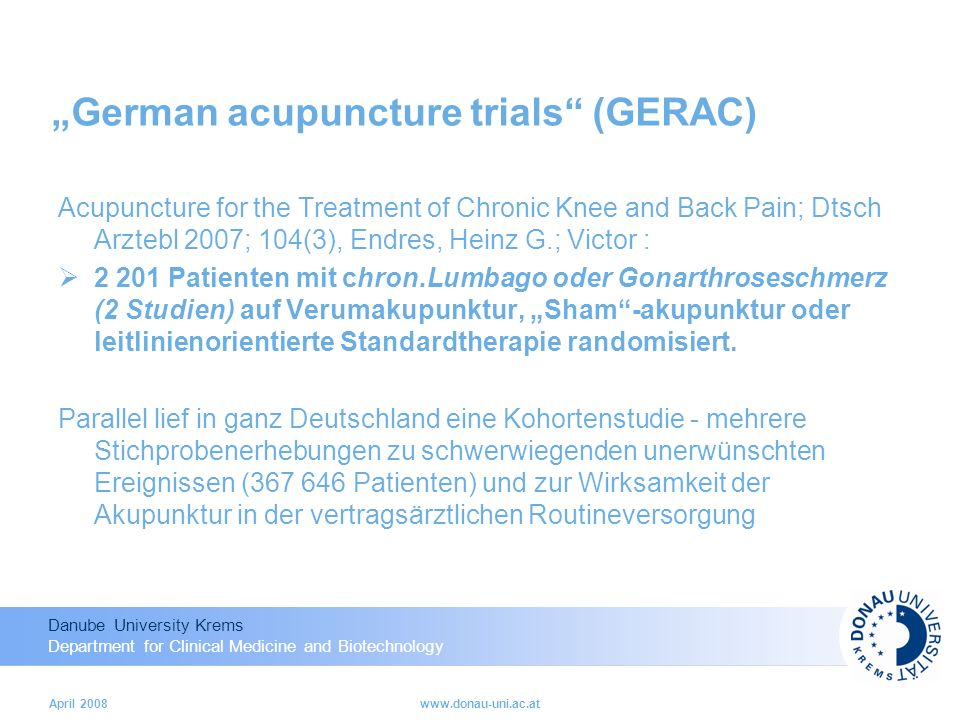 """German acupuncture trials (GERAC)"