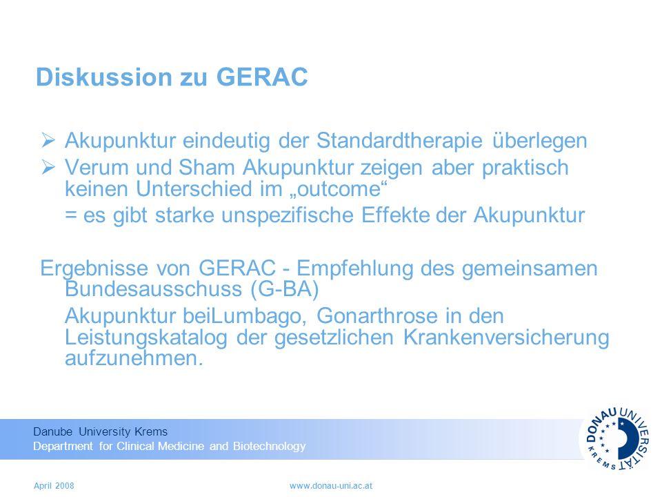 Diskussion zu GERAC Akupunktur eindeutig der Standardtherapie überlegen.