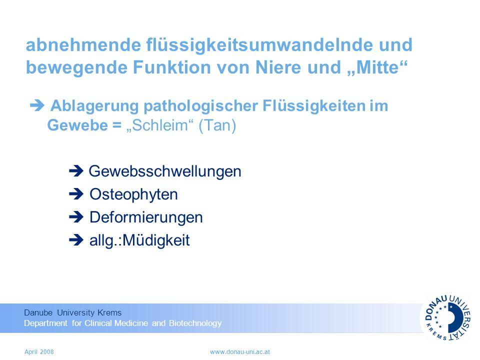"""abnehmende flüssigkeitsumwandelnde und bewegende Funktion von Niere und """"Mitte"""
