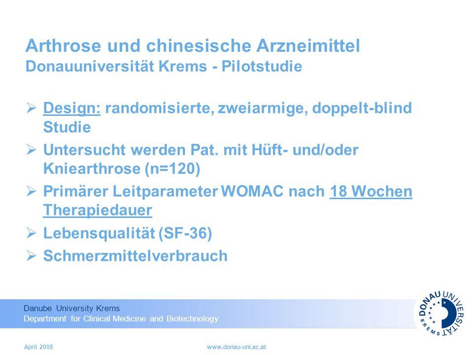 Arthrose und chinesische Arzneimittel Donauuniversität Krems - Pilotstudie