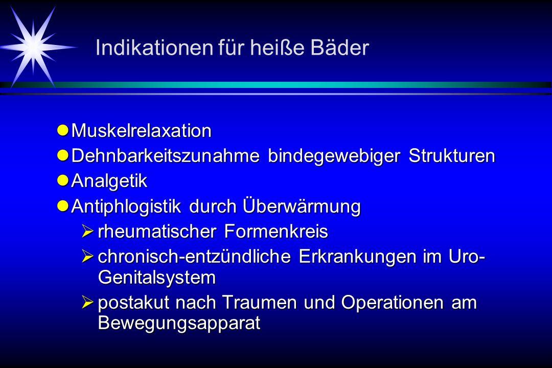 Indikationen für heiße Bäder