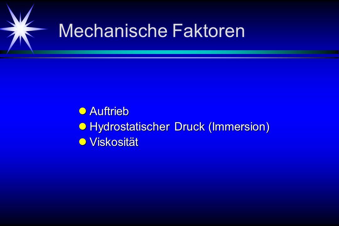 Mechanische Faktoren Auftrieb Hydrostatischer Druck (Immersion)