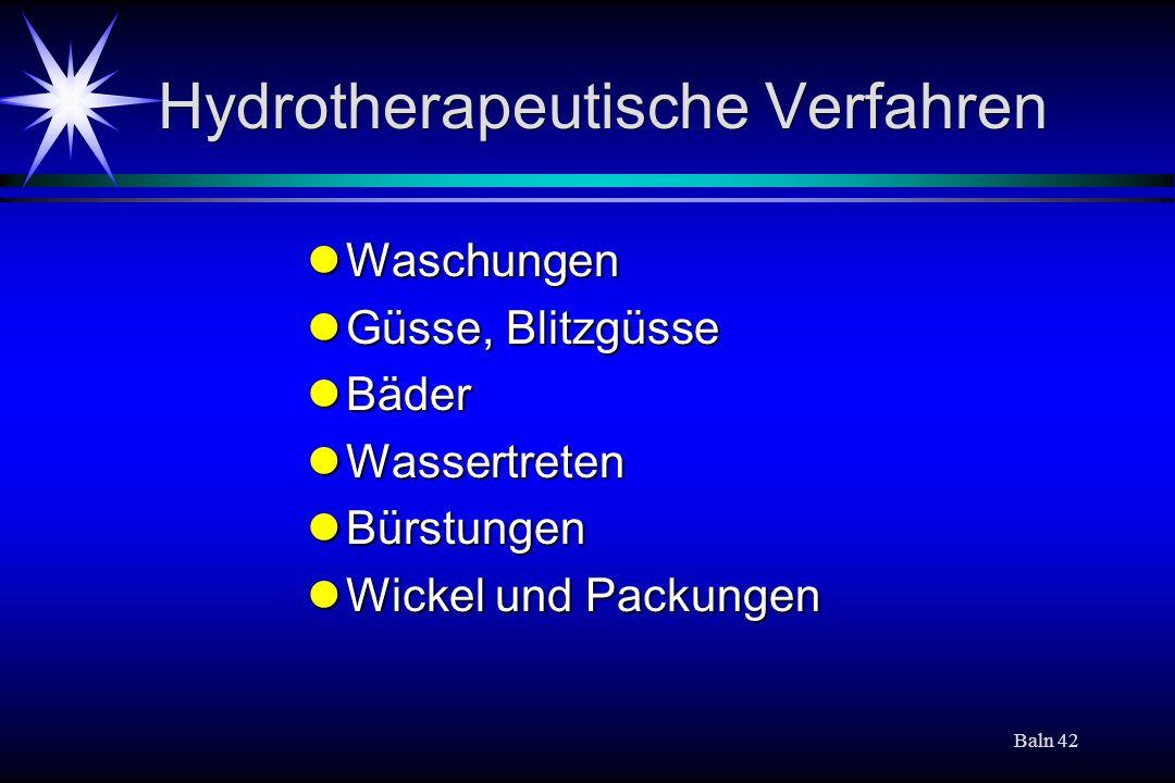 Hydrotherapeutische Verfahren