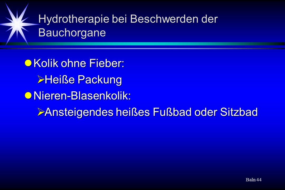 Hydrotherapie bei Beschwerden der Bauchorgane