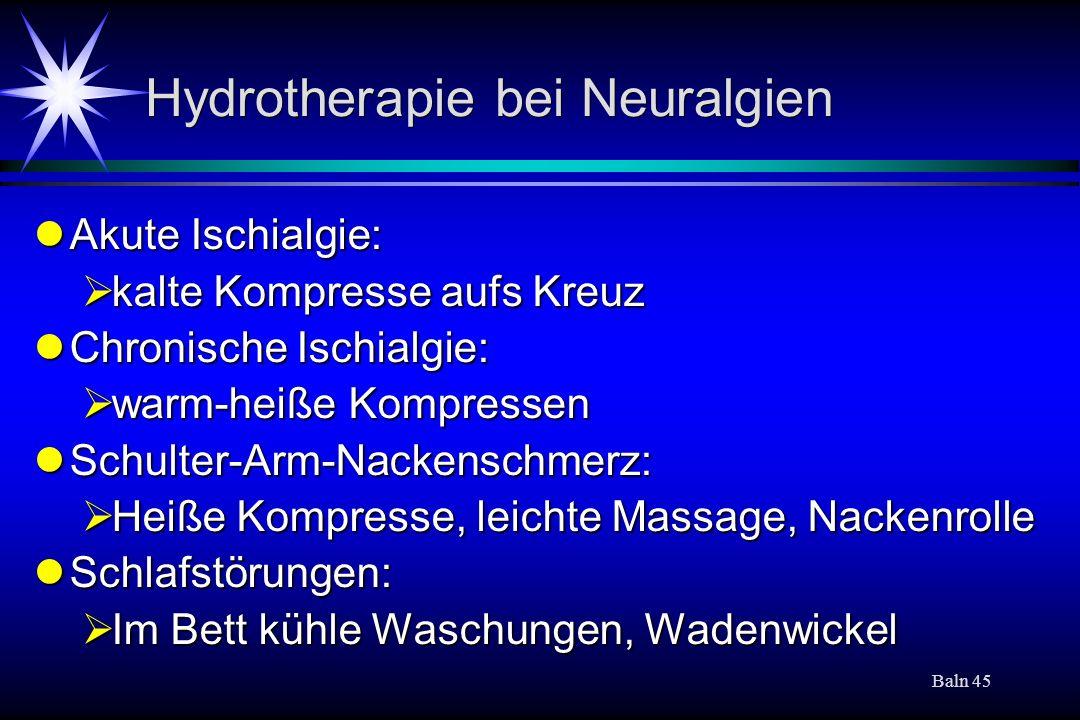 Hydrotherapie bei Neuralgien