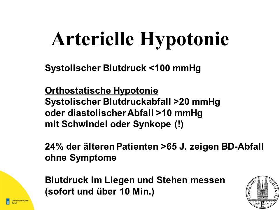Arterielle Hypotonie Systolischer Blutdruck <100 mmHg