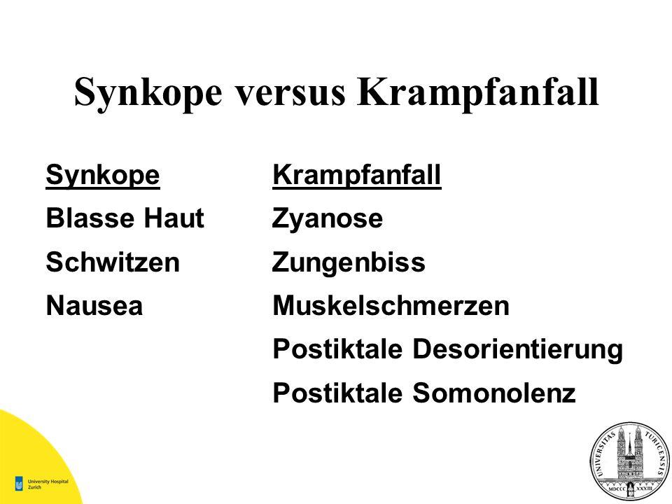 Synkope versus Krampfanfall
