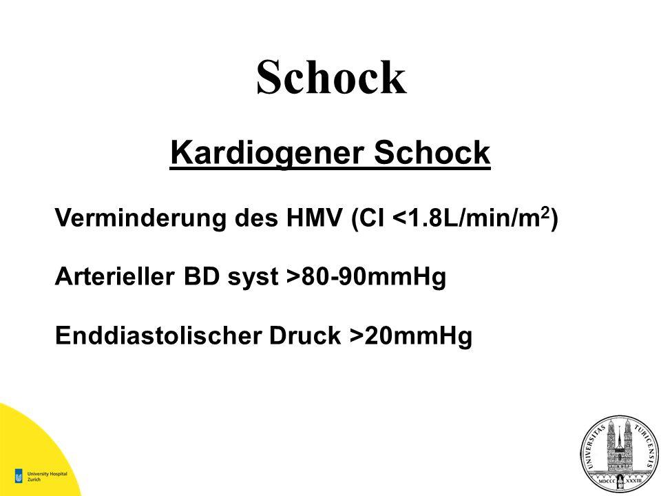 Schock Kardiogener Schock Verminderung des HMV (CI <1.8L/min/m2)
