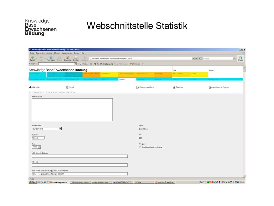 Webschnittstelle Statistik