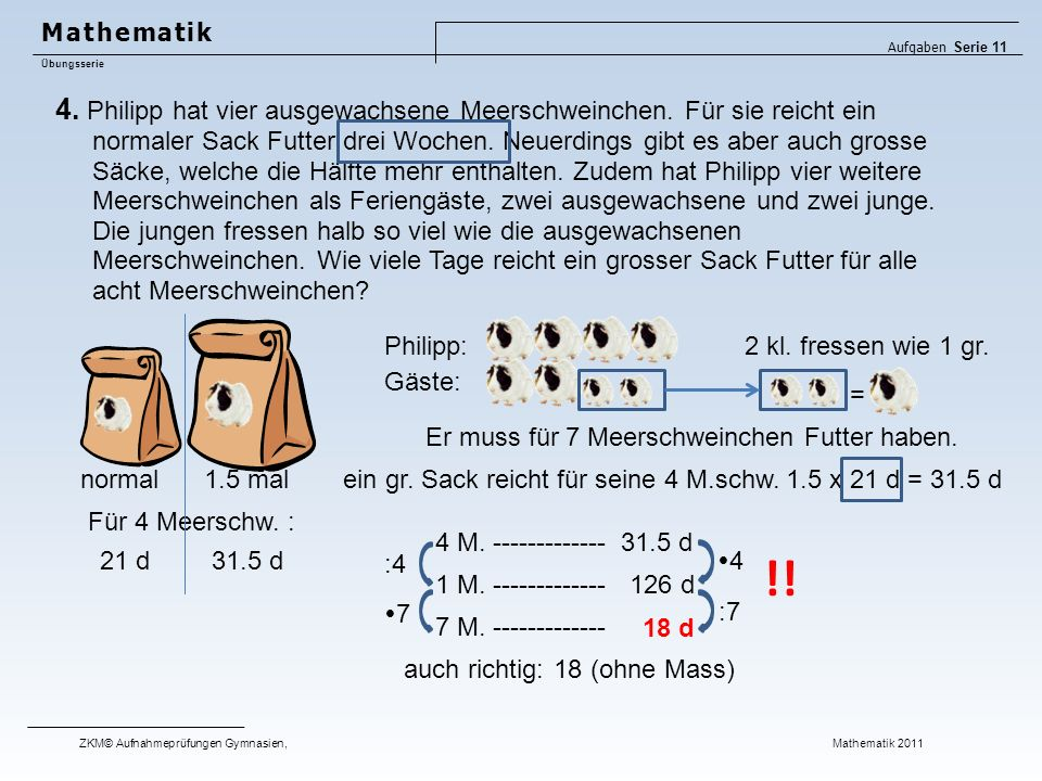 Mathematik Aufgaben Serie 11. Übungsserie.