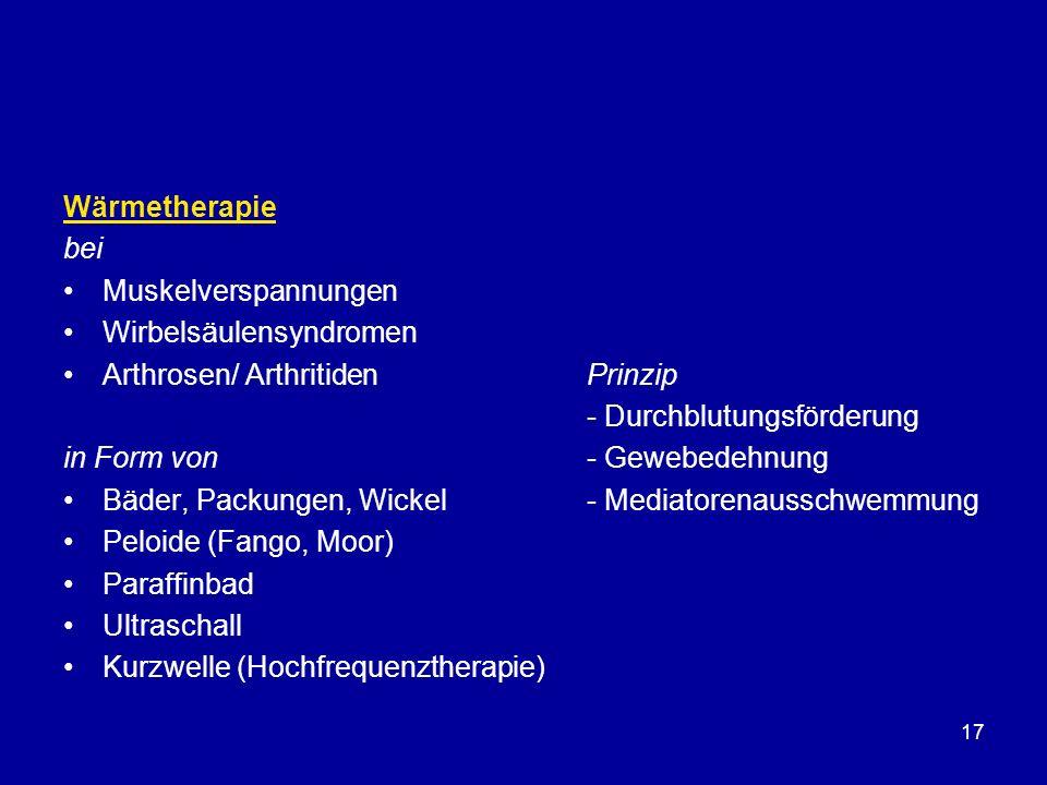 Wärmetherapie bei. Muskelverspannungen. Wirbelsäulensyndromen. Arthrosen/ Arthritiden Prinzip.