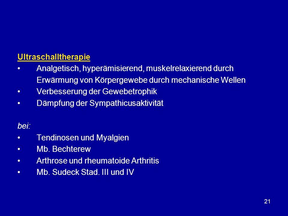 Ultraschalltherapie Analgetisch, hyperämisierend, muskelrelaxierend durch. Erwärmung von Körpergewebe durch mechanische Wellen.
