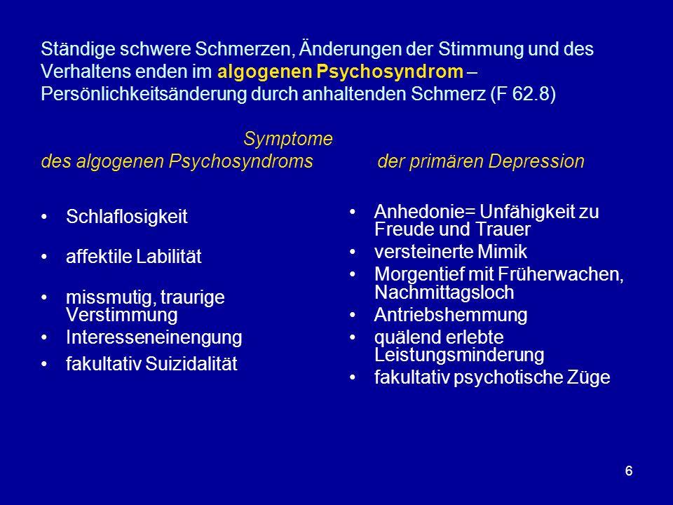 Ständige schwere Schmerzen, Änderungen der Stimmung und des Verhaltens enden im algogenen Psychosyndrom – Persönlichkeitsänderung durch anhaltenden Schmerz (F 62.8) Symptome des algogenen Psychosyndroms der primären Depression