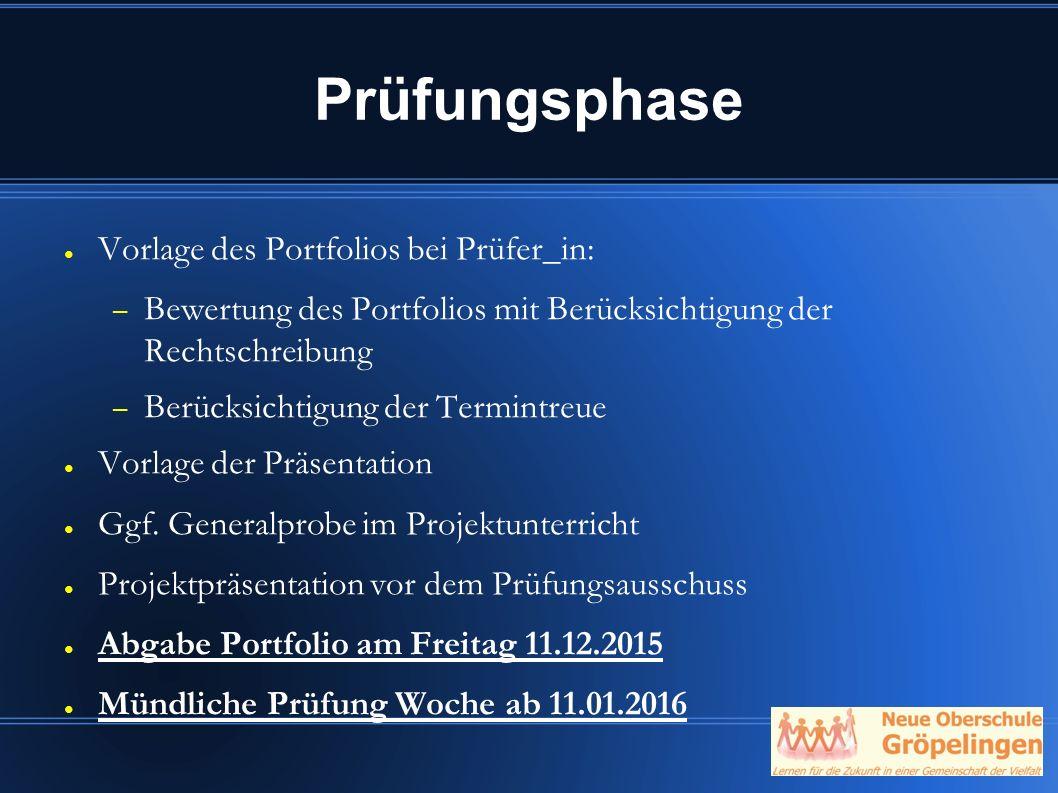 Prüfungsphase Vorlage des Portfolios bei Prüfer_in: