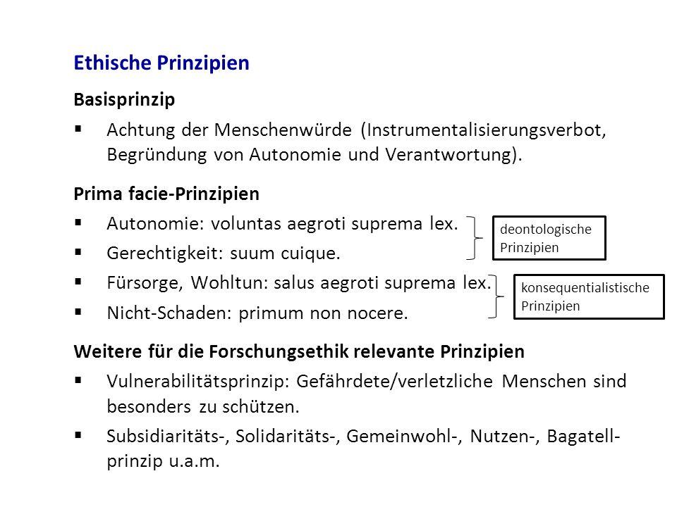Ethische Prinzipien Basisprinzip