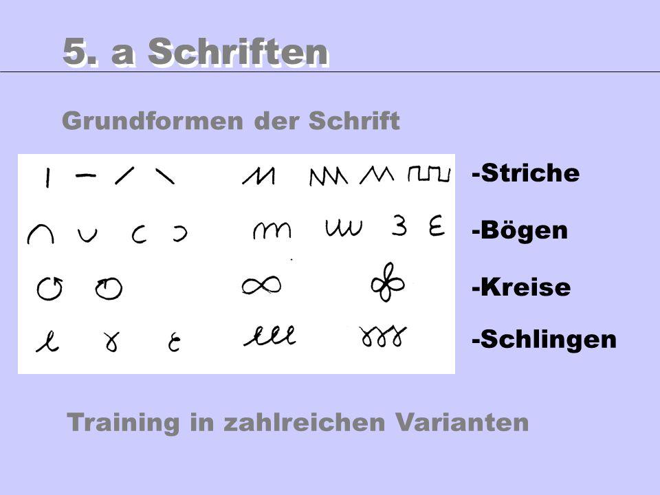 5. a Schriften Grundformen der Schrift Striche -Bögen -Kreise