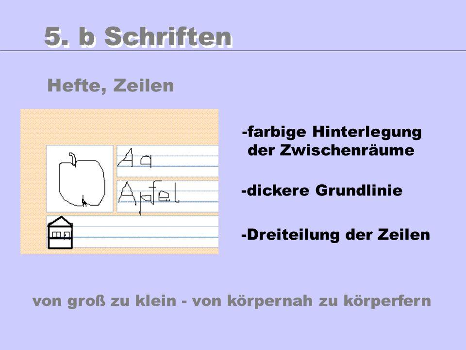 5. b Schriften Hefte, Zeilen -farbige Hinterlegung der Zwischenräume