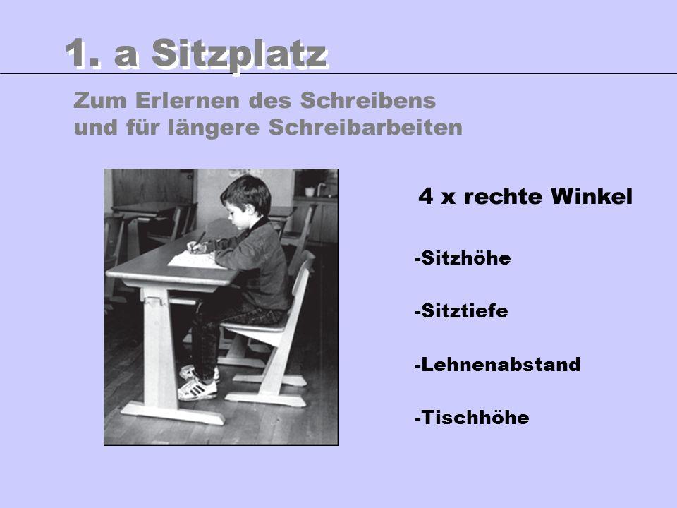 1. a Sitzplatz Zum Erlernen des Schreibens