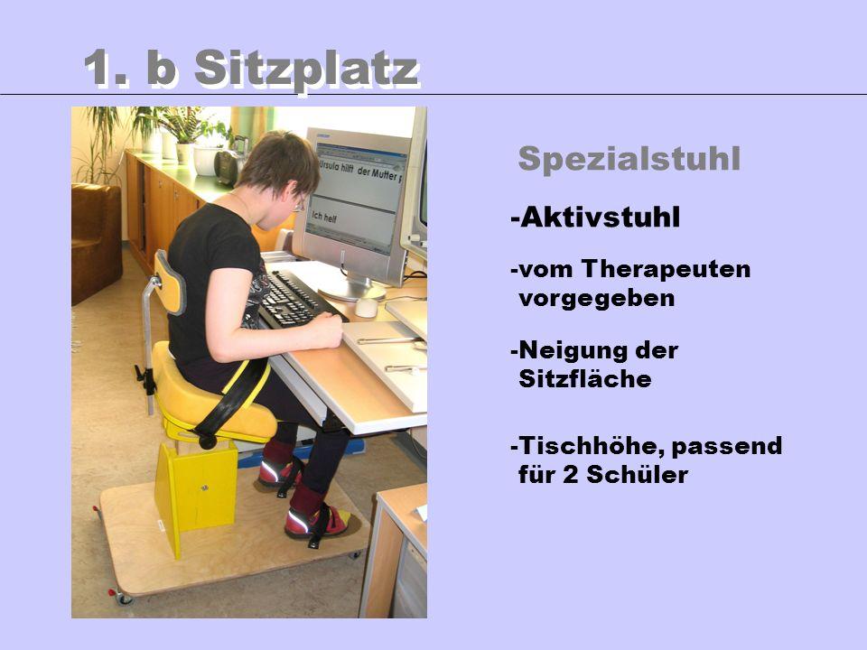 1. b Sitzplatz Spezialstuhl Aktivstuhl vom Therapeuten vorgegeben