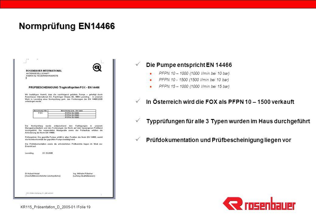 Normprüfung EN14466 Die Pumpe entspricht EN 14466