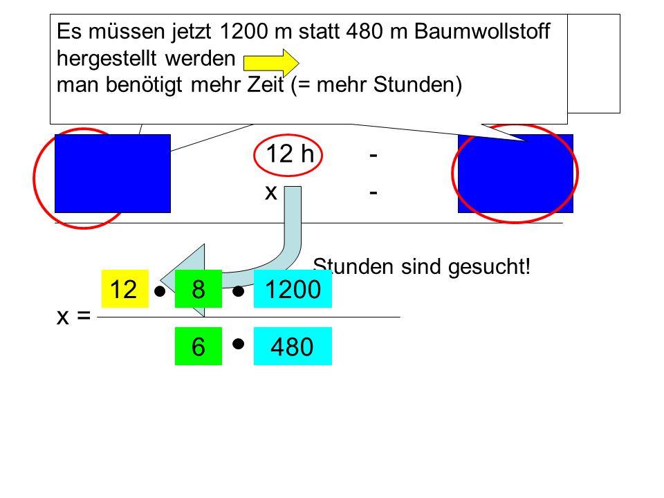 Es müssen jetzt 1200 m statt 480 m Baumwollstoff hergestellt werden man benötigt mehr Zeit (= mehr Stunden)