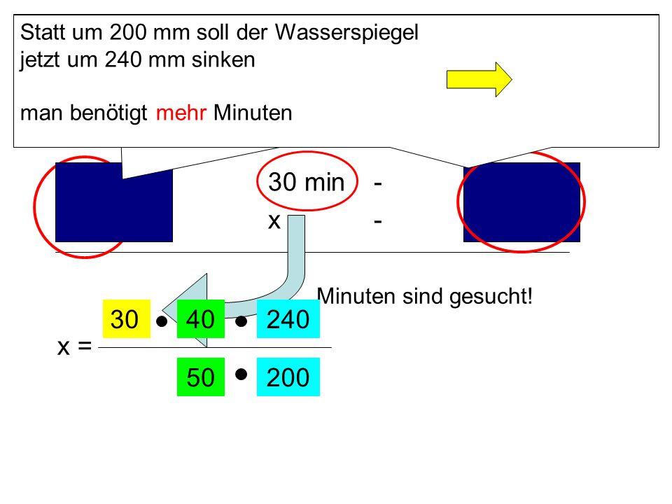 40 l/s - 30 min - 200 mm 50 l/s - x - 240 mm 30 40 240 x = 50 200