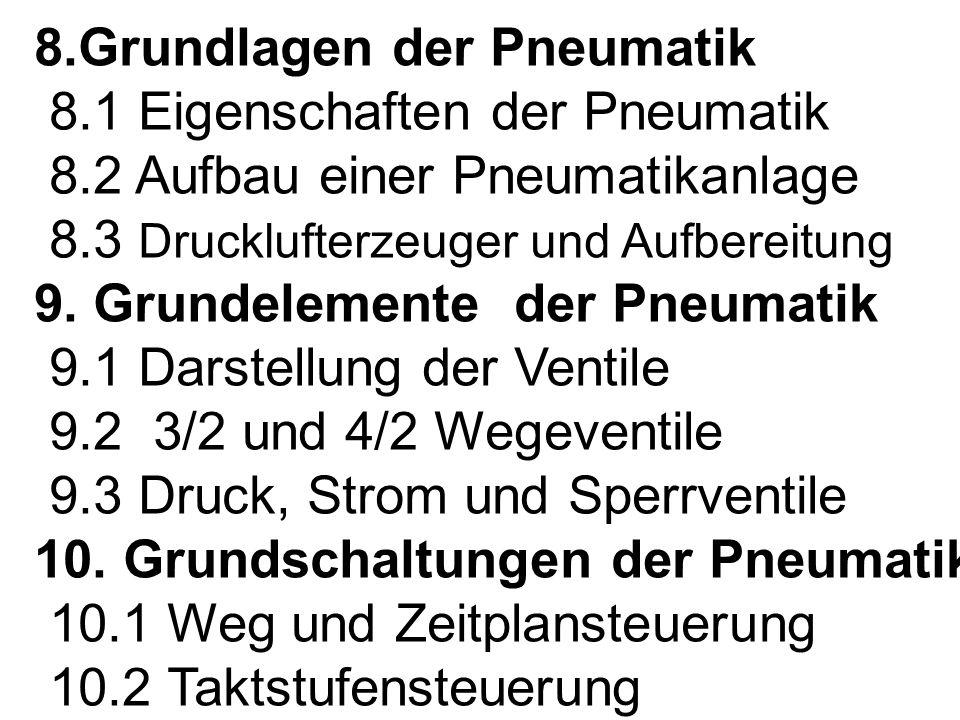8. Grundlagen der Pneumatik 8. 1 Eigenschaften der Pneumatik 8