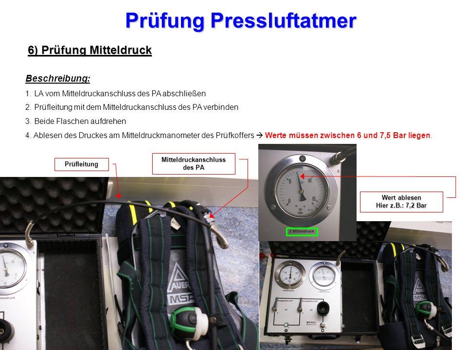 Prüfung Pressluftatmer Mitteldruckanschluss des PA