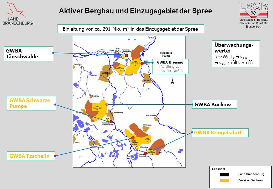 Aktiver Bergbau und Einzugsgebiet der Spree