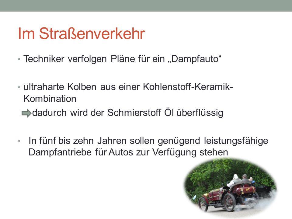 """Im Straßenverkehr Techniker verfolgen Pläne für ein """"Dampfauto"""