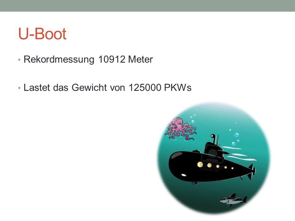 U-Boot Rekordmessung 10912 Meter Lastet das Gewicht von 125000 PKWs