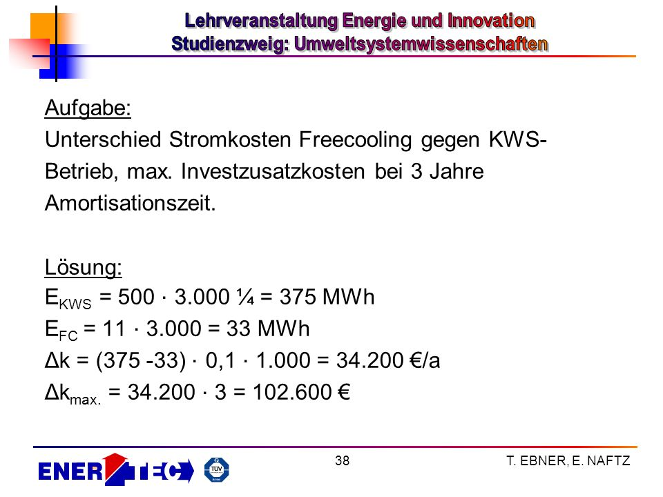 Unterschied Stromkosten Freecooling gegen KWS-