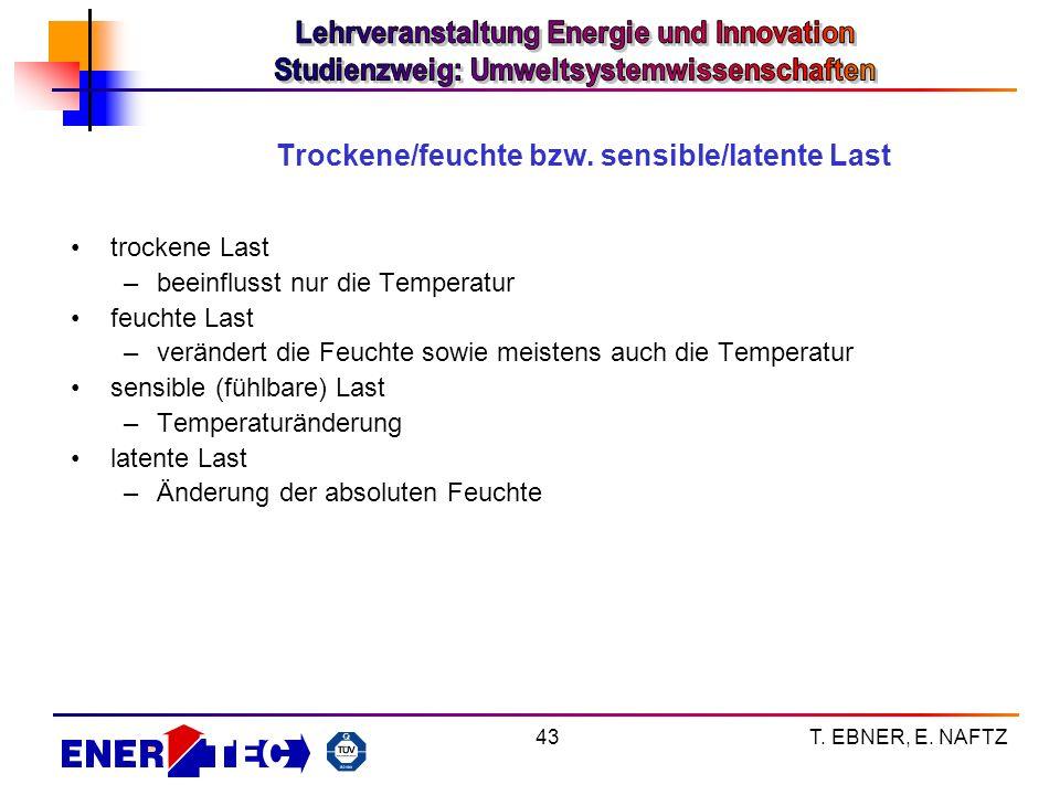 Trockene/feuchte bzw. sensible/latente Last