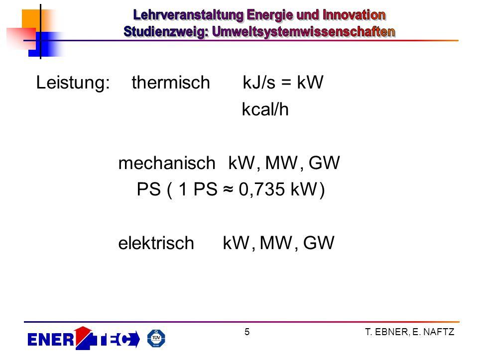 Leistung: thermisch kJ/s = kW kcal/h mechanisch kW, MW, GW