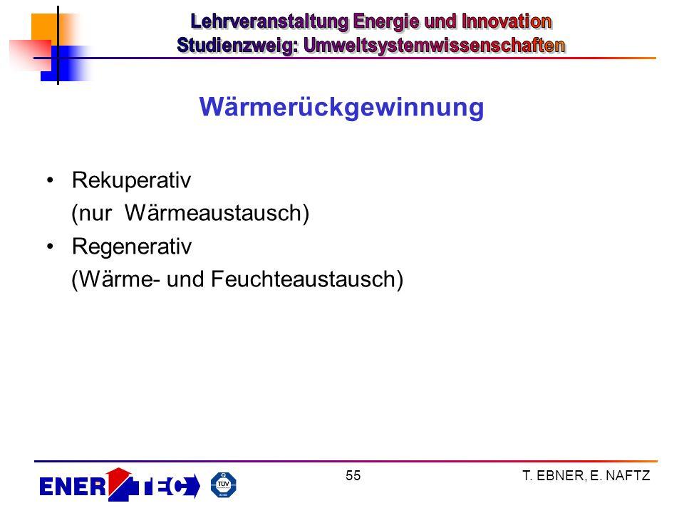 Wärmerückgewinnung Rekuperativ (nur Wärmeaustausch) Regenerativ