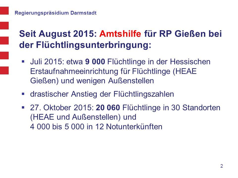 Seit August 2015: Amtshilfe für RP Gießen bei der Flüchtlingsunterbringung: