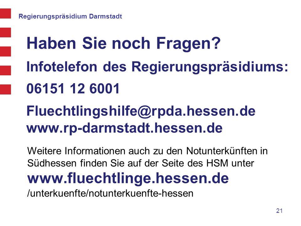 Haben Sie noch Fragen Infotelefon des Regierungspräsidiums:
