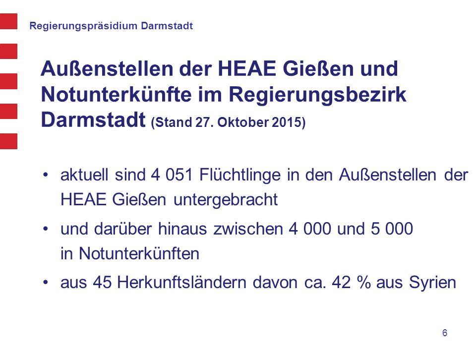 Außenstellen der HEAE Gießen und Notunterkünfte im Regierungsbezirk Darmstadt (Stand 27. Oktober 2015)