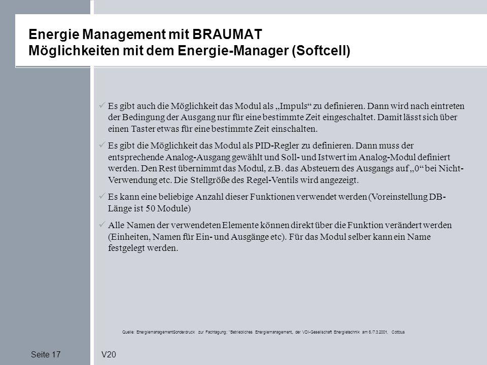 Energie Management mit BRAUMAT Möglichkeiten mit dem Energie-Manager (Softcell)