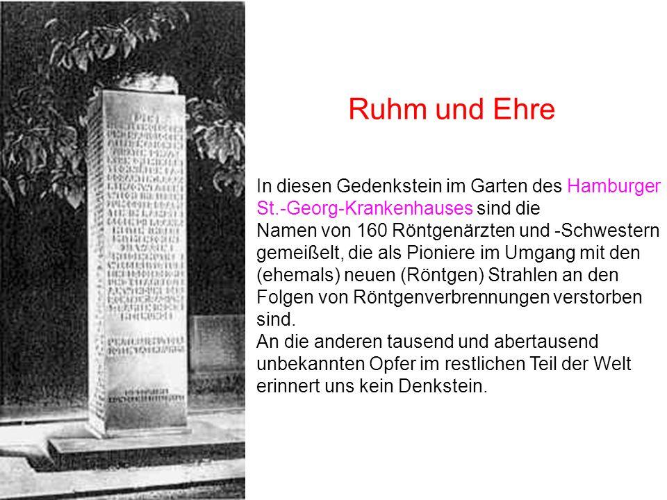 Ruhm und Ehre In diesen Gedenkstein im Garten des Hamburger St.-Georg-Krankenhauses sind die.